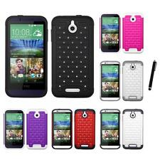 For HTC Desire 510 Rhinestone Rugged Armor Bling Case Phone Cover Stylus Pen