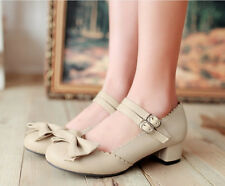Sweet Bowknot Womens Lolita Retro chunky heels Pumps Ankle Strap Shoes Gothic ##