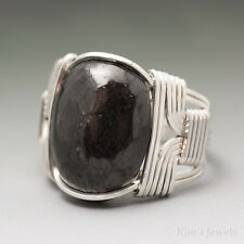 Shungite Sterling Silver Wire Wrapped Cabochon Ring