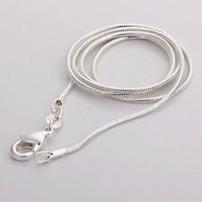 "2mm Solid 925 Silver Sterling Snake Chain Pendant Necklace 16 18 20 22 22 24"" UK"