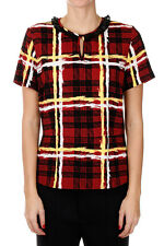 MARC BY MARC JACOBS New woman Red Checked Short Sleeve Top Blouse NWT