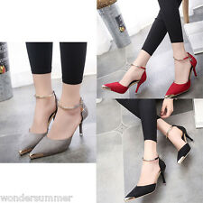 Women Stiletto High Heels Suede Court Shoes Pointed Toe Pumps Wedding Party Gray