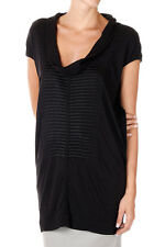 RICK OWENS LILIES New Woman Black COWLED Embroidery Top Tee Made in Italy