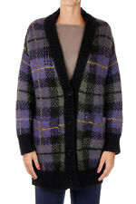 PAROSH New woman Checked Multicolor Mohair Blend Cardigan Sweater Made in italy