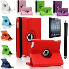 iPad 2 3 4 Leather Case 360° Rotating Smart Stand Cover Case for Apple Free Pen