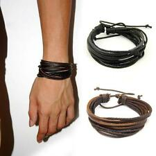 Fashion Tribal Women/Men Surfer Wrap Multilayer Leather Wrist Bracelet Gifts