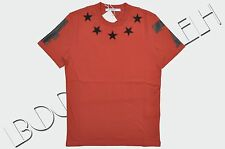 GIVENCHY 555$ Authentic New Red Cotton Cuban Fit Stars Embroidery Tshirt FW16/17