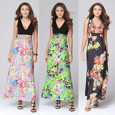 Sexy Womens Summer Sleeveless Floral Long Maxi Evening Party Dress Beach Dresses