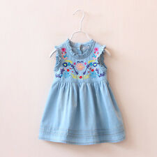 Baby Toddlers Girls Dress Blue Flower Denim Vest Tops Jeans Skirt Kids Clothing