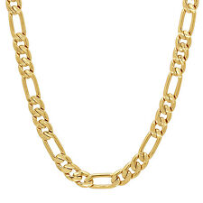 7mm 14k Gold Plated Diamond-Cut Figaro Link Chain