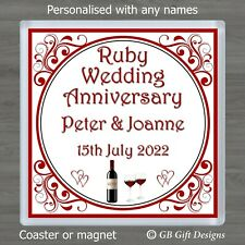 PERSONALISED 40TH RUBY WEDDING ANNIVERSARY DRINKS COASTER or FRIDGE MAGNET GIFT