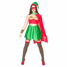 Ladies Super Hero Elf Fun Christmas Festive Fancy Dress Up Party Costume Outfit