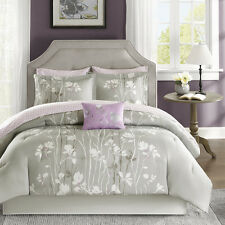 Luxury Grey Purple Floral Comforter Shams Cotton Sheets 9 pcs Cal King Queen Set