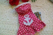 PINK POLKA-DOT ANCHOR Hoodie Dog Dress XS S Pup Crew New Pet clothes doggy