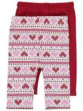 BNWT Baby Girls Clothes 3-6-9 Months GEORGE 2x  Red Heart Design Cotton Leggings