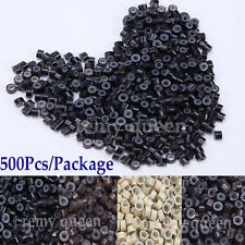 Silicone Lined Micro Rings Link Crimp Beads for Feather Hair I Tip Extension USA