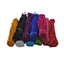 100x Coloured Glitter Chenille Stems Pipe Sticks  Cleaners For Art DIY Crafts
