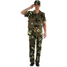 ADULT ARMY MAN SOLDIER CAMOUFLAGE FANCY DRESS WAR FORCE MILITARY CSOTUME OUTFIT