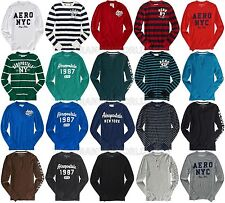AEROPOSTALE MENS LONG SLEEVE T-SHIRT EMBROIDERED LOGOS A87 THERMAL HENLEY NWT
