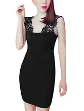 Sexy Lace Panel Shoulder Strap Stretch Dress for Lady