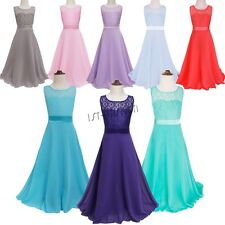 Kids Flower Girl Dress Ball Gown Prom Wedding Bridesmaid Maxi Floral Lace Dress