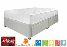 AIRSPRUNG BED 4FT6 Double Biege Divan Ortho Superior Mattress Storage Options