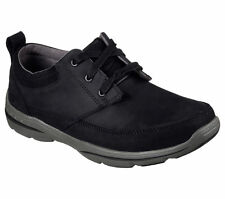 64855 Black Skechers Shoe Men Memory Foam Leather Casual Comfort Oxford Soft New