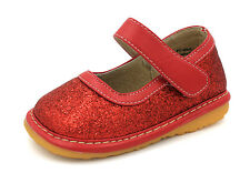 Red Sparkle Girls Mary Jane Sparkly Squeaky Shoes, Sizes 3 4 5 6 7 8 9