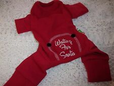 WAITING FOR SANTA Red THERMAL Dog Pajamas XS S  L Pjs new puppy pet christmas