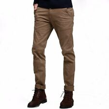 Popular Mens Casual Pants Slim Straight Little Stretchy Trousers Khaki  28 to 36