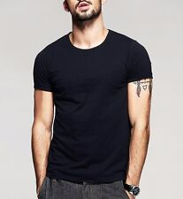 Classic Mens T-Shirt Round Neck Short Sleeve High Elasticity Basic Tee M to XXXL