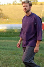 Uncommon Threads 0975-53 Epic 3/4 Sleeve Chef Shirt in Eggplant