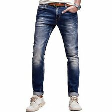 New Mens Jeans Mid-Rise Trousers Slim Skinny Pants Cotton Blue Color 28 to 36