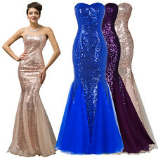Shining Mermaid Bridesmaid Prom Women's Formal Evening Party Gown Wedding Dress.