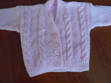 "Hand knitted baby girl cable v-neck cardigan 12"" - 18"" chest"