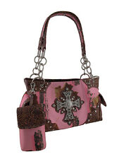 Western Pink Camo Rhinestone Cross Concealed Carry Purse w/Cell Pouch