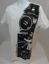 Mens new Marc Ecko Cut & Sew vneck shirt size L XL bleach white Tee  nwt
