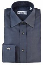 YVES SAINT LAURENT YSL Mens Solid Pinpoint Spread Collar Dress Shirt, Charcoal