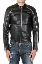 DSQUARED2 Dsquared² New Men Black Leather Jacket Coat Zipped NWT