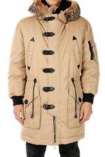 DSQUARED2 Man Beige Down Coat with Fur New with Tags and Original