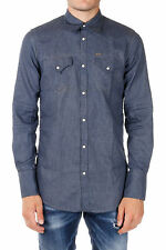 DSQUARED2 New Men Blu Cotton Breast Pockets Long sleeve Shirt Made Italy NWT