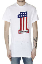DSQUARED2 Dsquared² Men New White Cotton Printed Holed T-Shirt Tee Made in Italy