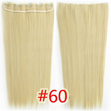 #60 Blonde 150g 5Clips On One Hairpieces Clip In 100% Real Human Hair Extensions
