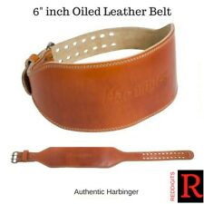 "New Harbinger 6"" Classic Oiled Leather Weight Lifting Belt - Brown 27211"