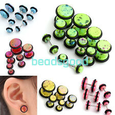 2x Acrylic Colorful Barbell Fake 6g-00g Cheater Ear Illusion Plugs Stud Earrings