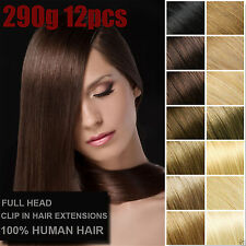 290g 12PCS 18''~28'' 100%Real Human Hair Clip In Remy Hair Extensions Full Head