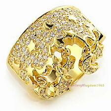 Clear Simulated Diamonds Solid 925 Sterling Silver Ring Gold Plated r4445