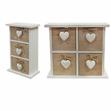 Shabby Chic Wooden 3 or 4 Drawer Chest - Vintage White Jewellery Storage Box
