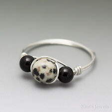 Dalmatian Jasper & Black Onyx Sterling Silver Wire Wrapped Bead Ring