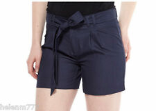 Taupe or Navy Blue Light Woven Tie Waist Cotton Shorts 12 14 16 Loops Pockets